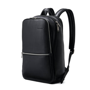 "Samsonite Classic Leather Slim Backpack 14.1"" in Black front view"