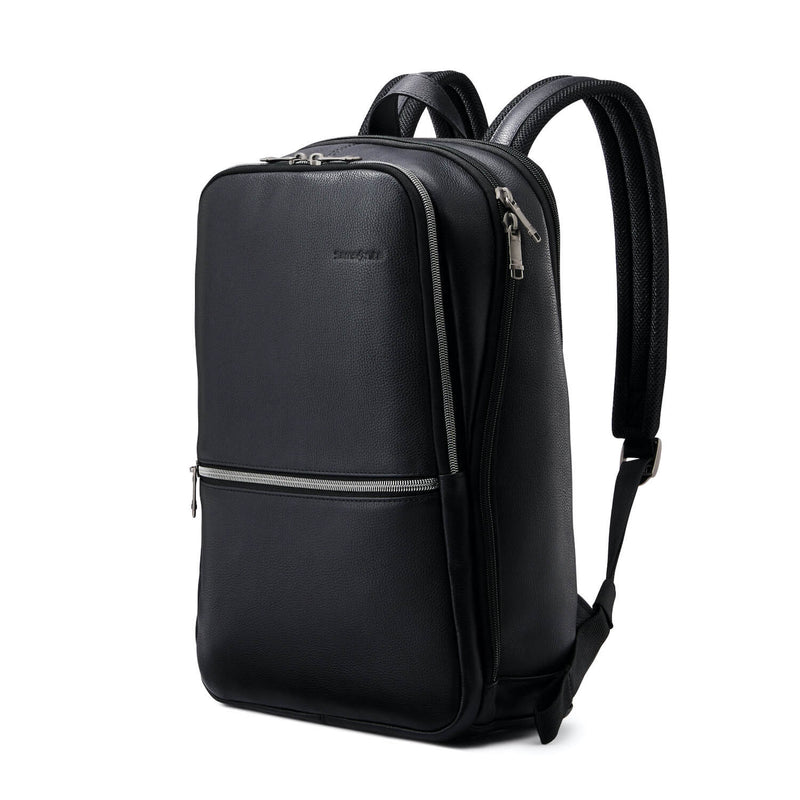 "Samsonite Classic Leather Slim Backpack 14.1"" in Black rear view"