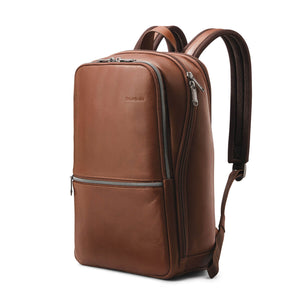 "Samsonite Classic Leather Slim Backpack 14.1"" in Cognac front view"