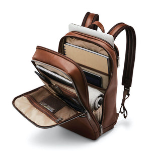 "Samsonite Classic Leather Slim Backpack 14.1"" in Cognac inside view"