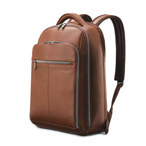 "Samsonite Classic Leather Backpack 15.6"" in Cognac front view"