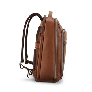 "Samsonite Classic Leather Backpack 15.6"" in Cognac side view"