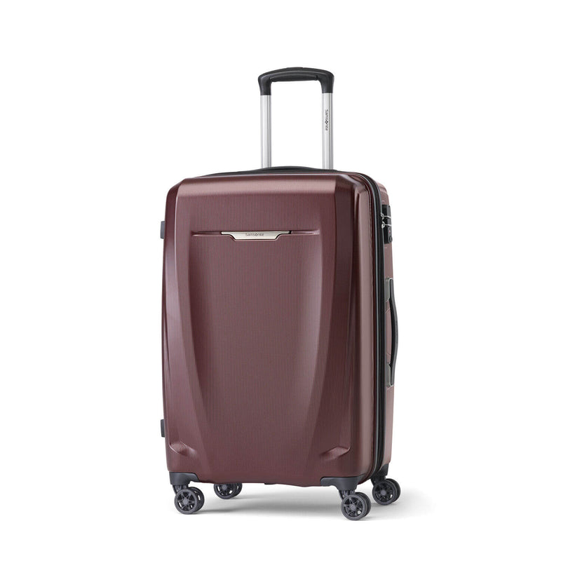 Samsonite Pursuit DLX Plus Spinner Medium Expandable in Dark Burgundy front view