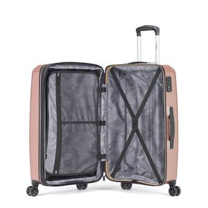 Samsonite Pursuit DLX Plus Spinner Large Expandable in Pearl Rose inside view