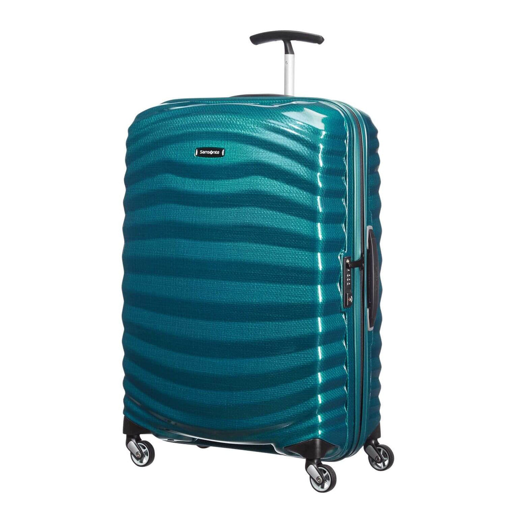 Samsonite Lite-Shock Spinner Medium in Petrol Blue front view
