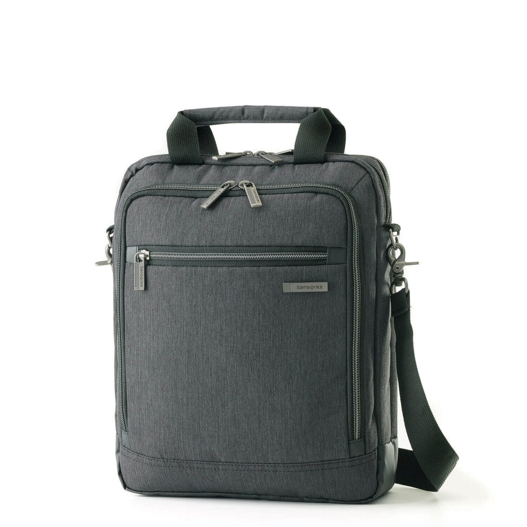"Samsonite Modern Utility Vertical Messenger Bag 13.3"" in Charcoal Heather front view"