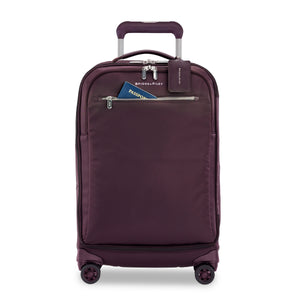 Briggs & Riley Rhapsody Tall Carry-On Spinner in Plum front view