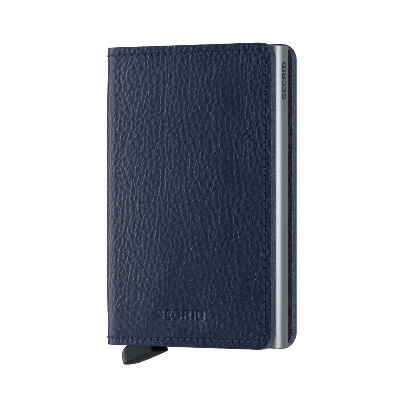 Secrid Wallets Slimwallet Vegetable Tanned in Navy Silver - Forero's Vancouver Richmond