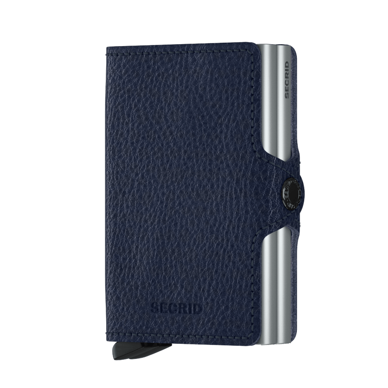 Secrid Wallets Twinwallet Vegetable Tanned in Navy Silver - Forero's Vancouver Richmond