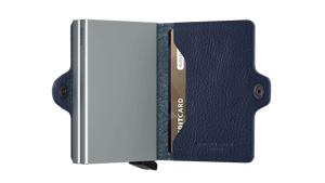 Secrid Wallets Twinwallet Vegetable Tanned in colour Navy Silver - Forero's Bags and Luggage Vancouver Richmond