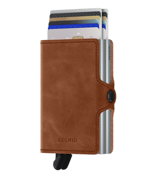 Secrid Wallets Twinwallet VIntage in colour Cognac Silver - Forero's Bags and Luggage Vancouver Richmond