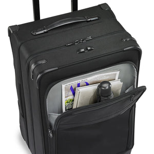 Briggs & Riley Baseline Medium Expandable Trunk Spinner in Black front pocket