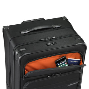 Briggs & Riley Baseline Extra Large Expandable Trunk Spinner in Black front pocket