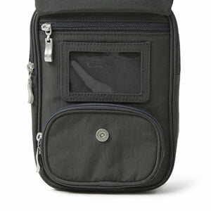 Baggallini RFID Journey Crossbody in Charcoal ID window
