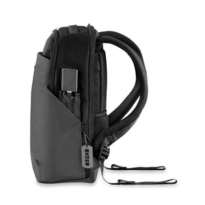 Briggs & Riley Delve Medium Backpack in Black side pocket