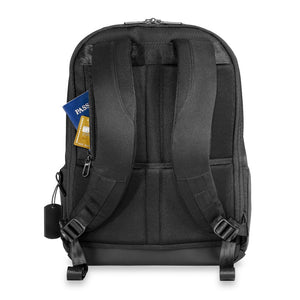 Briggs & Riley Delve Medium Backpack in Black rear pocket