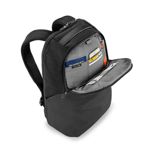 Briggs & Riley Delve Medium Backpack in Black front organizer