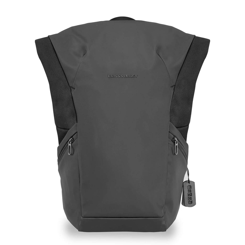 Briggs & Riley Delve Large Roll-Top Backpack in Black front view