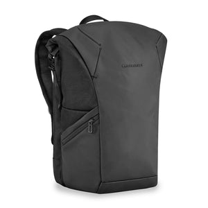 Briggs & Riley Delve Large Roll-Top Backpack in Black side view