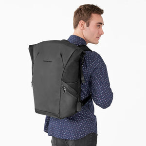 Briggs & Riley Delve Large Roll-Top Backpack in Black on model