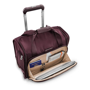 Briggs & Riley Baseline Rolling Cabin Bag in Plum front compartment