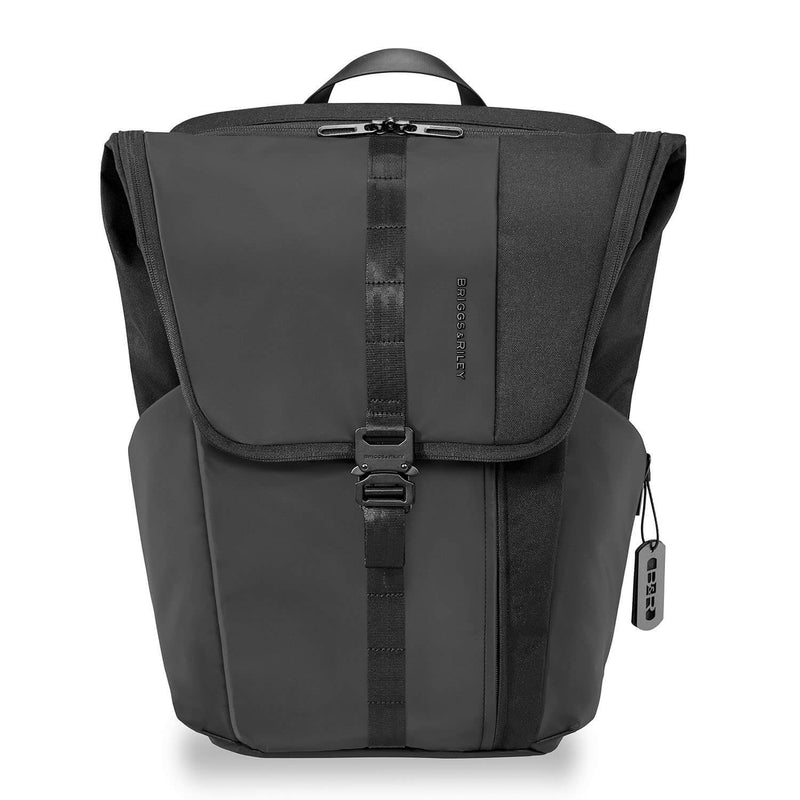 Briggs & Riley Delve Large Fold-Over Backpack in Black front pocket
