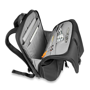 Briggs & Riley Delve Large Fold-Over Backpack in Black inside view
