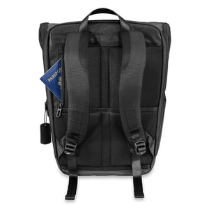 Briggs & Riley Delve Large Fold-Over Backpack in Black rear pocket