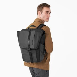 Briggs & Riley Delve Large Fold-Over Backpack in Black on model
