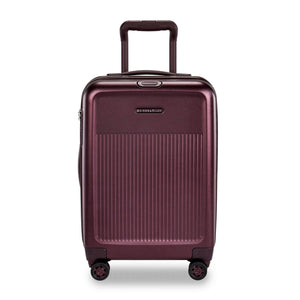 Briggs & Riley Sympatico International Carry-On Expandable Spinner in Plum front view