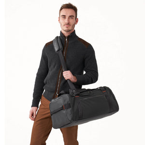 Briggs & Riley ZDX Large Travel Duffle in Black on model