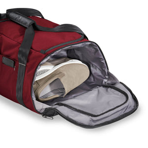 Briggs & Riley ZDX Large Travel Duffle in Brick side compartment