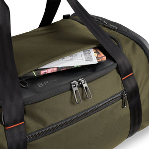 Briggs & Riley ZDX Large Travel Duffle in Hunter top pocket