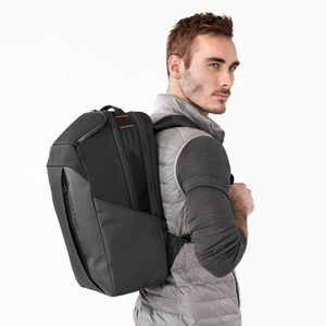 Briggs & Riley ZDX Cargo Backpack in Black on model