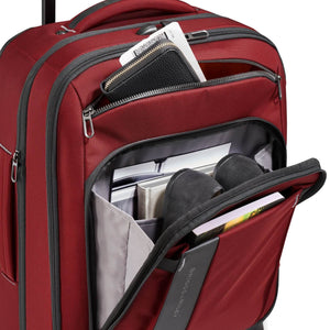 Briggs & Riley ZDX International Carry-On Expandable in Brick front pockets