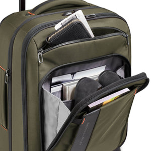 Briggs & Riley ZDX Domestic Carry-On Expandable in Hunter front pockets