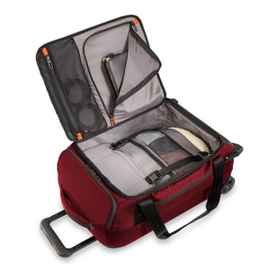 Briggs & Riley ZDX International Carry-On Upright Duffle in Brick inside view