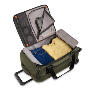 Briggs & Riley ZDX International Carry-On Upright Duffle in Hunter inside view