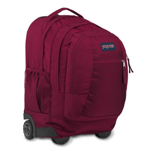 JanSport Driver 8 Rolling Backpack in Russet Red side view