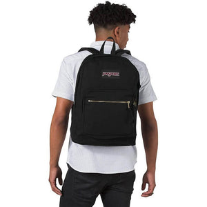 JanSport Right Pack Expressions Backpack in Black Gold on model