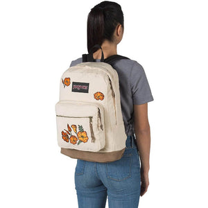 JanSport Right Pack Expressions Backpack in Embroidered Poppies on model
