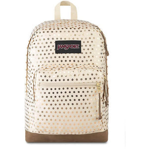 JanSport Right Pack Expressions Backpack in Gold Polka Dot front view