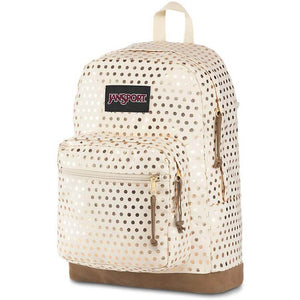 JanSport Right Pack Expressions Backpack in Gold Polka Dot side view