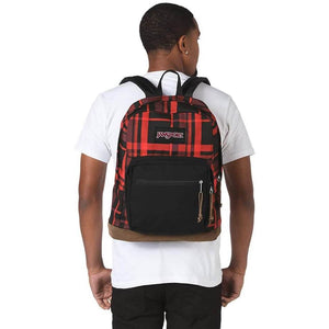 JanSport Right Pack Expressions Backpack in Red Diamond Plaid on model