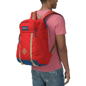 JanSport Foxhole Backpack in Red Tape on model