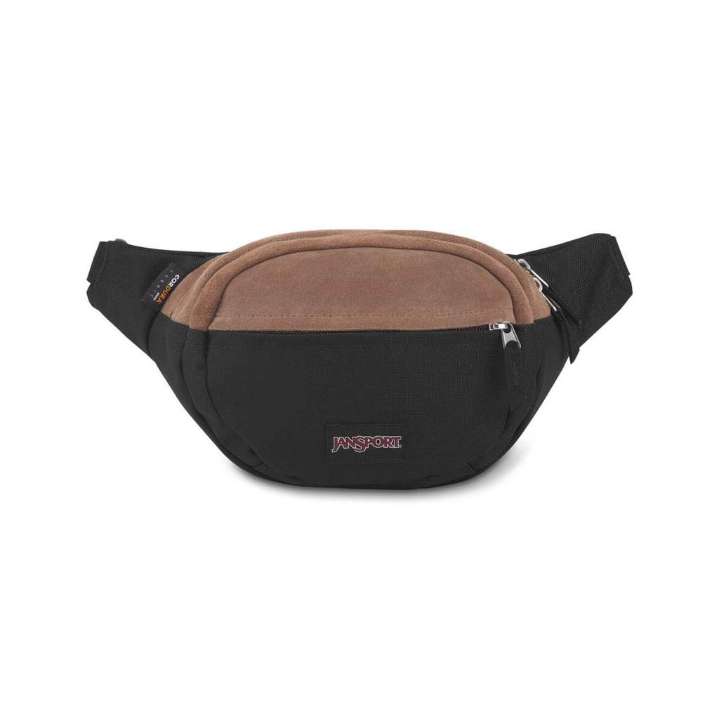 JanSport Fifth Ave Suede Fanny Pack in Black front view