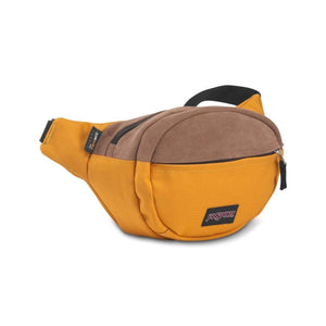 JanSport Fifth Ave Suede Fanny Pack in English Mustard side view