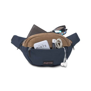 JanSport Fifth Ave Suede Fanny Pack in Navy packed