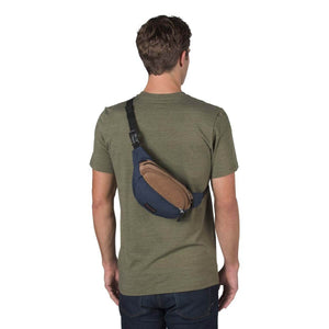 JanSport Fifth Ave Suede Fanny Pack in Navy on model
