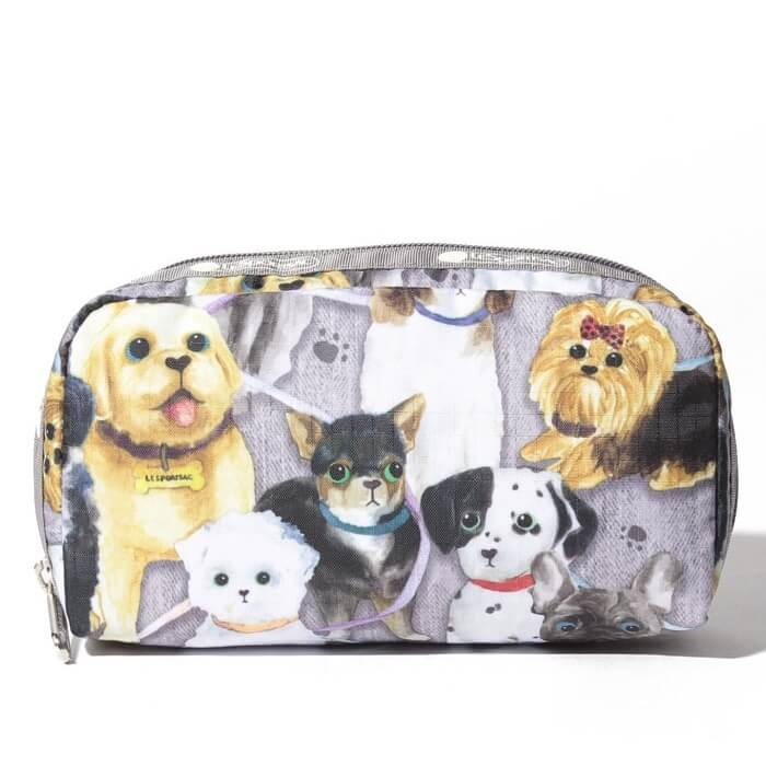 LeSportsac Women's Rectangular Cosmetic in Puppy Park front view